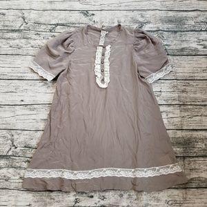 Twelve by Twelve Lace Accent Silk Pullover Dress